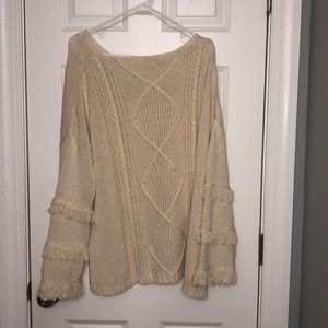 oliviaceous Sweaters - tan fringe oliviaceous sweater